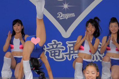 【JK チアガール】足上げダンスってパンチラ回避するの無理だろww 問題のシーン0:40