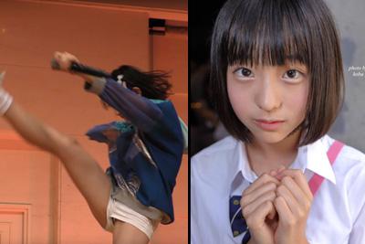 美少女JKアイドルが豪快に足を上げた結果、見せパンブルマから純白パンツがはみ出しちゃったww 問題のシーン3:04~